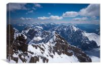 View from the top of the Zugspitze mountain , Canvas Print