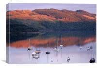 Boats Moored in Scottish Sunset, Canvas Print