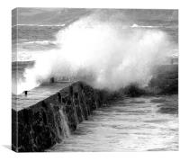 Sea Breaking Over Harbour Wall, Canvas Print