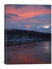 Winter Sunset Menai Bridge, Canvas Print
