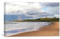 Rainbow at Dunstanburgh Castle, Canvas Print