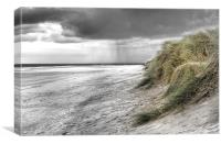 Passing Storm on Bamburgh Beach, Canvas Print