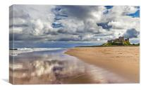 Bamburgh Castle and Beach, Canvas Print
