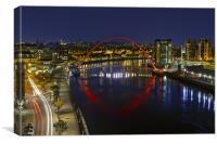 Newcastle Millennium Bridge in Red, Canvas Print