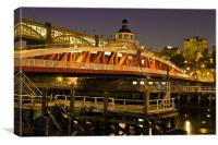 Newcastle Swing Bridge and Castle., Canvas Print