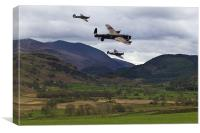 Lancaster bomber and wingmen., Canvas Print