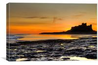 Bamburgh Beach at Sunrise, Canvas Print