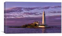 St Marys Lighthouse and Island, Canvas Print