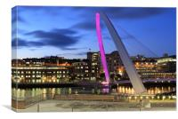 Pink Millennium bridge, Canvas Print