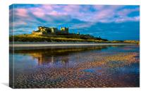 Bamburgh Castle Evening Sun, Canvas Print