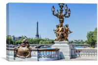 Paris, Eiffel Tower from the Pont Alexandre bridge, Canvas Print