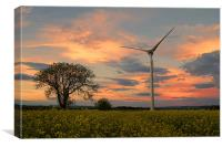 wind turbine sunset, Canvas Print