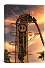 roller coaster sunset, Canvas Print