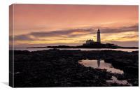 St Mary`s lighthouse, Canvas Print