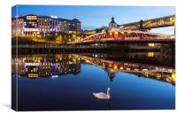 Newcastle Quayside - One Swan A Swimming, Canvas Print