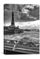 Moody Skies At Blackpool, Canvas Print