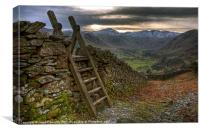 Stile In The Langdale Valley, Canvas Print