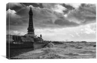 Blackpool In Black And White, Canvas Print