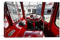 Big Red Bus Driving Cab, Canvas Print
