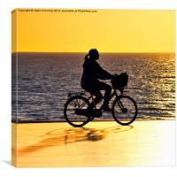Blackpool Biker At Sunset, Canvas Print