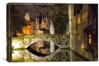 Bruges At Night, Canvas Print