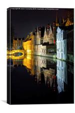 Bruges By Night, Canvas Print