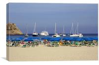 Yachts and Beach Umbrellas, Canvas Print