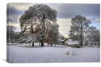 Dalmeny Green in White, Canvas Print