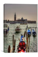 Gondolas in front of San Giorgio Maggiore, Canvas Print