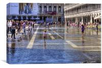 Paddling in Piazza San Marco, Canvas Print