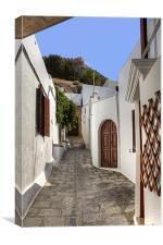 Residental Street in Lindos, Canvas Print