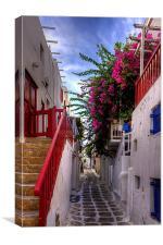 Flowers in a Mykonos Lane, Canvas Print