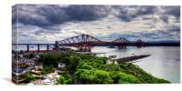 The Bridge under Cloudy Skies, Canvas Print