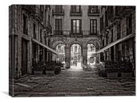 Plaça Reial, Barcelona B&W, Canvas Print