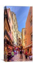 Busy Corfu Alley, Canvas Print
