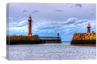 Whitby Lighthouses, Canvas Print