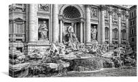Trevi Fountain B&W, Canvas Print