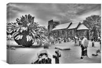 St Cuthbert's in the Snow B&W, Canvas Print