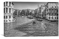North from the Rialto Bridge - B&W, Canvas Print