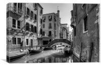 Strolling on the Fondamenta Frari - B&W, Canvas Print