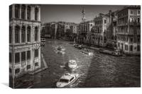 Looking North on the Grand Canal - B&W, Canvas Print