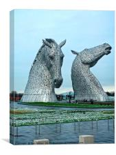 The Kelpies in January, Canvas Print