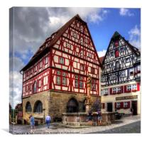 St. George's Fountain Rothenburg, Canvas Print