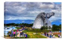 Enjoying the Kelpies, Canvas Print