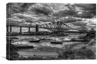 Low Tide in North Queensferry - B&W, Canvas Print
