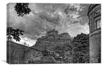 The Castle from St Cuthberts - B&W, Canvas Print