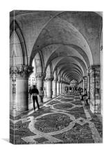Doge's Palace Colannade - B&W, Canvas Print