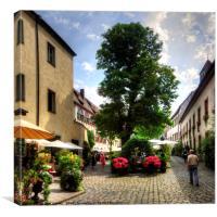 Cobbled Regensburg Courtyard, Canvas Print
