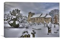 St Cuthberts in the snow, Canvas Print