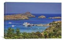 Boats in Lindos Bay, Canvas Print